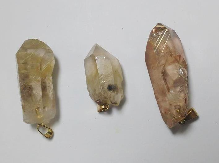 Stones from Uruguay - Golden Rutile Point Pendant with Plated Brass Bail and Hole