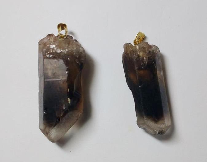 Stones from Uruguay - Bicolor Smoky Quartz Point Pendant with Drill Hole and Bail