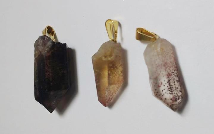 Stones from Uruguay - Drilled Crystal Point Pendant with Lepidocrocite Inclusion, Red Fire Quartz Pendant with Hole and Bail