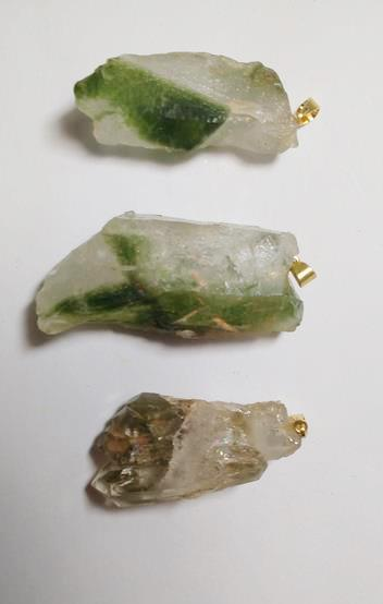Stones from Uruguay -   Green Phantom Quartz Crystal Points Pendant with Hole and Bail