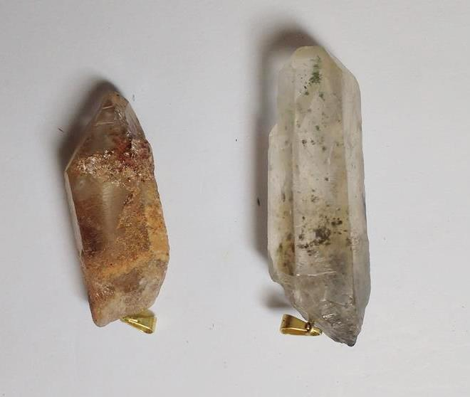 Stones from Uruguay - Phantom Quartz Crystal Points Pendant with Hole and Gold Plated Bail