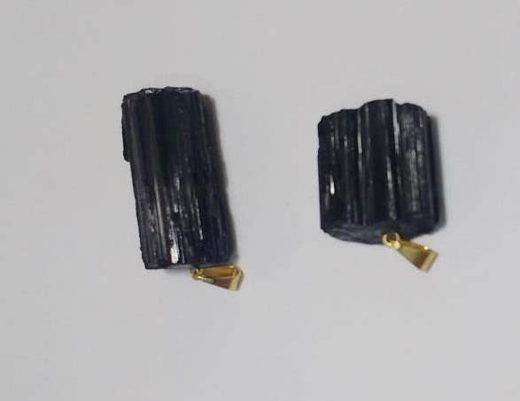 Stones from Uruguay - Roughened Black Tourmaline Pendant with Plated Bail