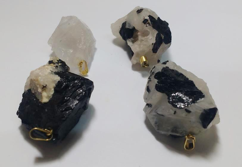 Stones from Uruguay - Drilled Black Tourmaline Pendant in the Quartz Matrix with Plated Bail