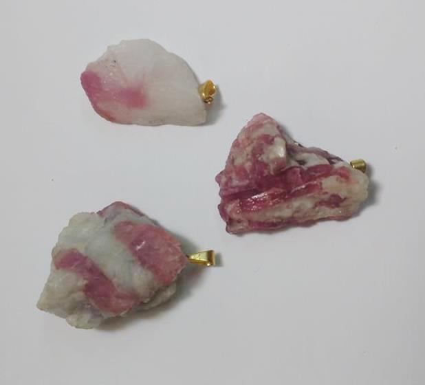 Stones from Uruguay - Pink Tourmaline in Matrix with Hole and Gold Plated Bail