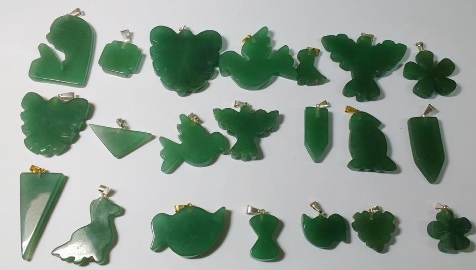 Stones from Uruguay - Polished Green Aventurine Shapes with Hole and Plated Bail