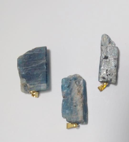 Stones from Uruguay - Blue Kyanite Pendants with Plated Bail