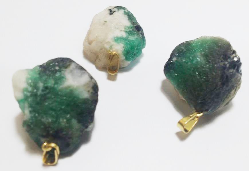 Stones from Uruguay - Emerald Pendant in Matrix with Hole and Bail