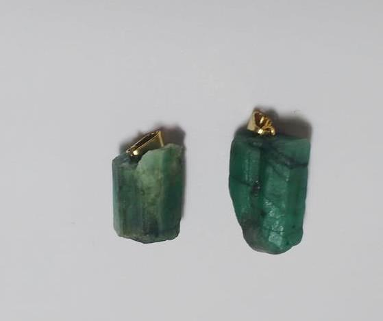 Stones from Uruguay - Rough Emerald Pendant with Hole and Bail