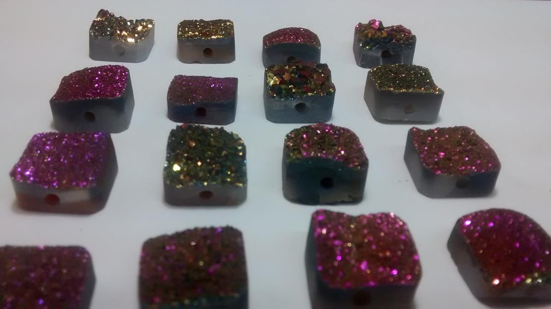 Stones from Uruguay - Pink Rainbow Aura  Coated Druzy Square for Bead Making