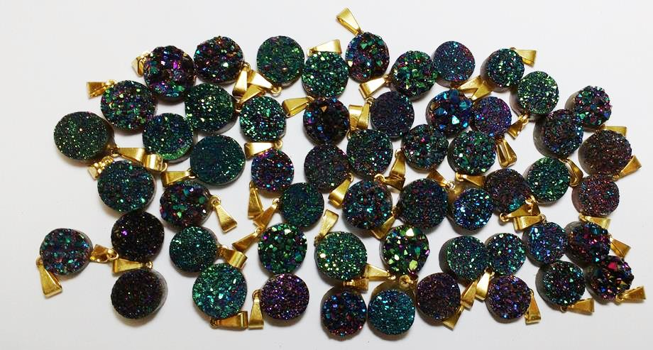Stones from Uruguay - Green Rainbow Titanium Druzy Round Pendant with Gold Plated Bail, Size 10mm