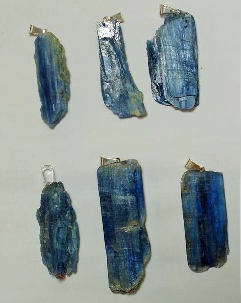 Stones from Uruguay - Dark Blue Kyanite Pendant with Drill Hole and Silver Plated Bail
