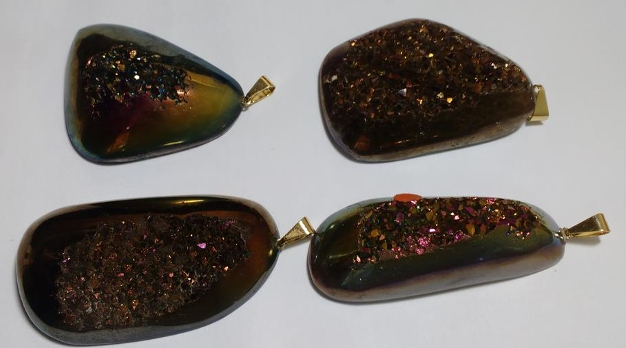 Stones from Uruguay - Rainbow Flame Aura Druzy Cabochon with Drill Hole and Bail