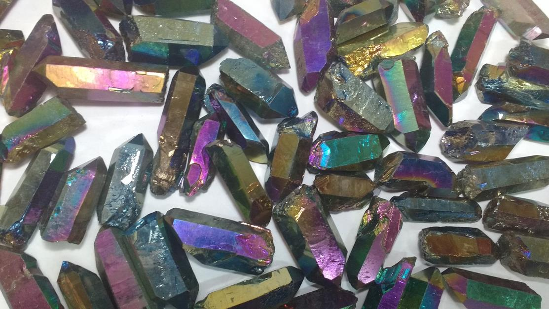 Stones from Uruguay - Rainbow Titanium Quartz Points for Jewelry Making