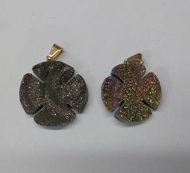Stones from Uruguay - Flame Aura Quartz Crystal Chalcedony Druzy Clover Pendants, 30mm