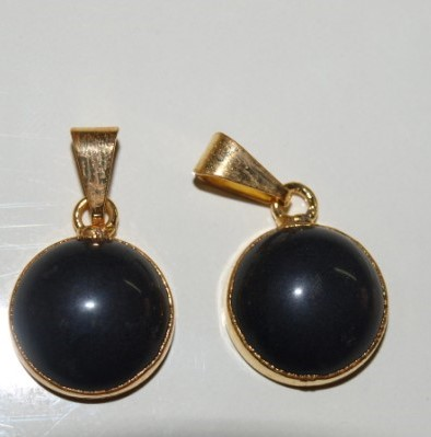 Stones from Uruguay - Black Obsidian Round Cabochon Pendant, 15mm, Gold Plated