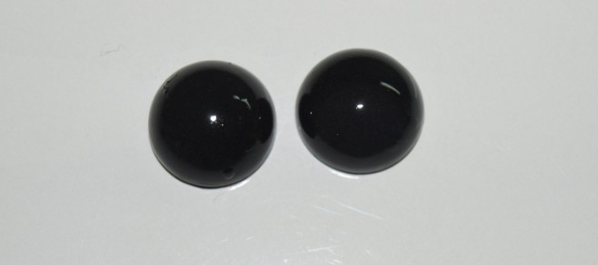 Stones from Uruguay - Black Obsidian Round Cabochon Pairs for Earring Making