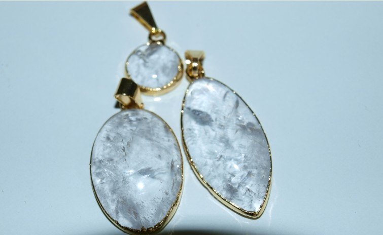 Stones from Uruguay - Clear Quartz Cabochon Pendants