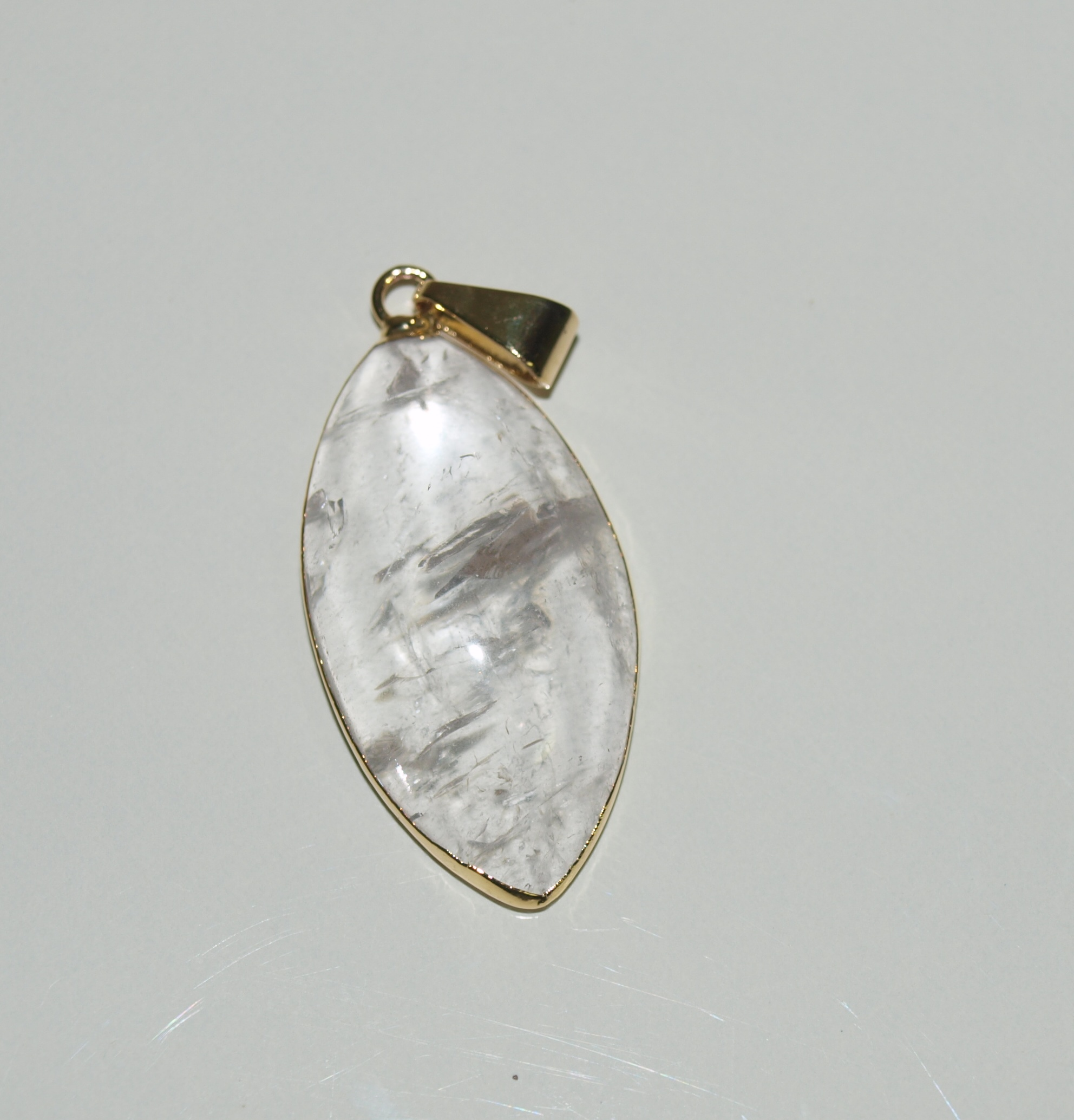 Stones from Uruguay - Clar Quartz Marquise Cabochon Pendant, 30x15mm. Gold Plated
