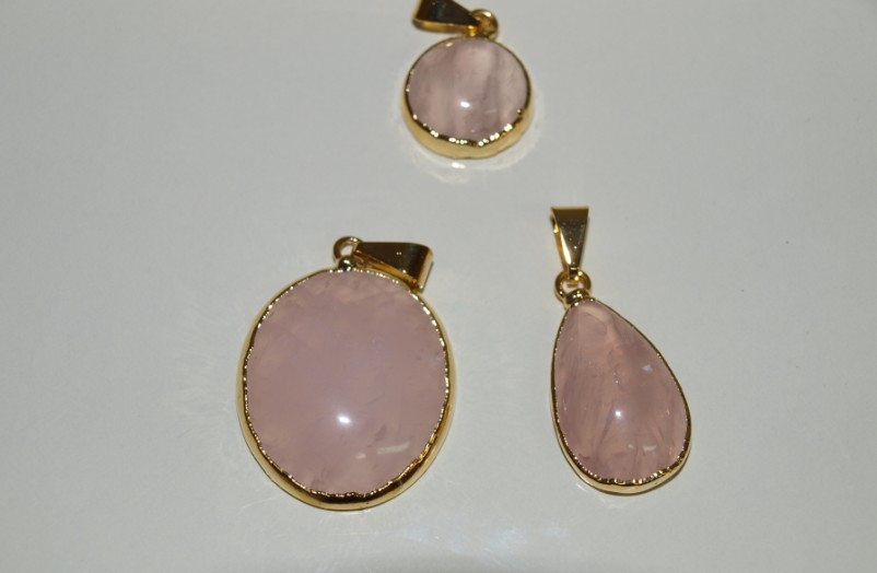Stones from Uruguay - Rose Quartz Cabochon Pendants with Gold Plated