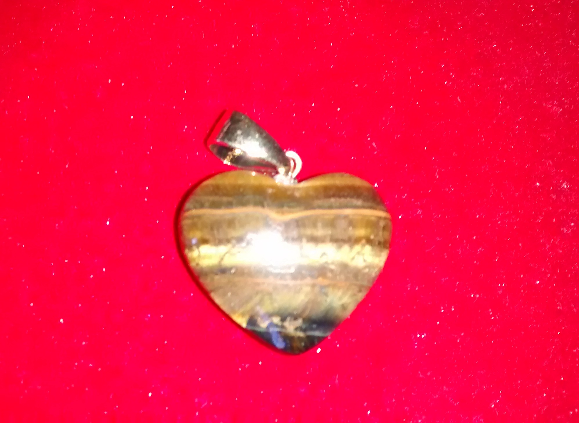Stones from Uruguay - Tiger Eye Heart Cabochon Pendant with Hole and Plated Bail