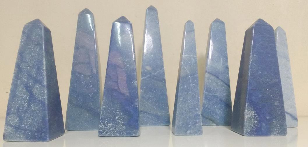 Stones from Uruguay - Blue Quartz Obelisk for Decoration