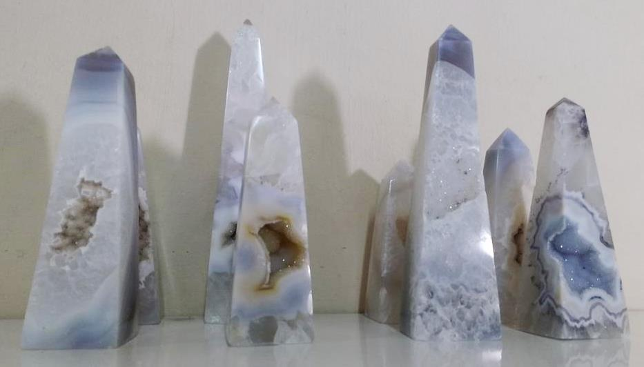 Stones from Uruguay - Natural Agate Druzy Obelisk for Decoration