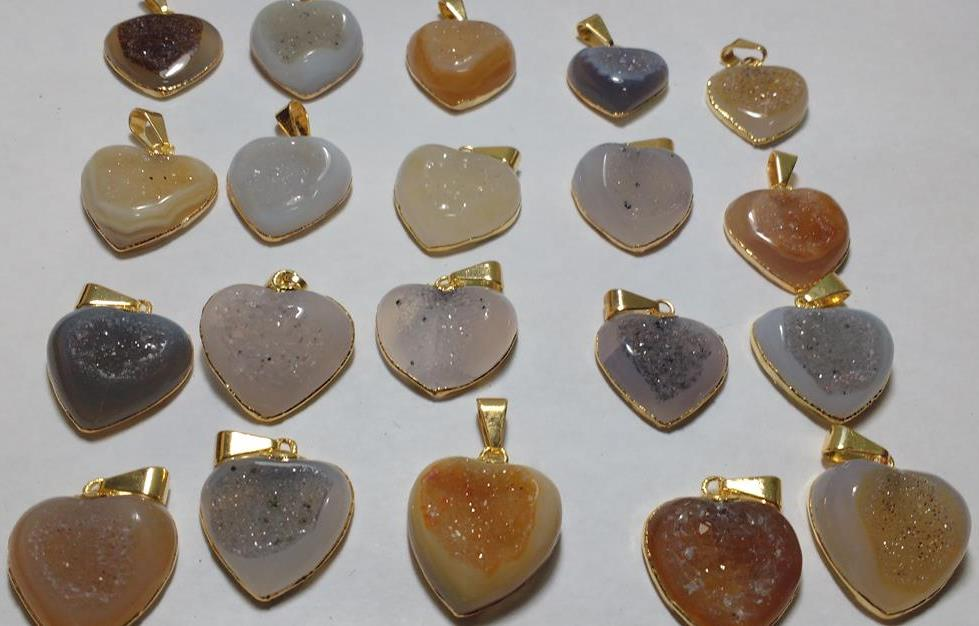 Stones from Uruguay - Polished Druzy Heart Cabochon Pendant