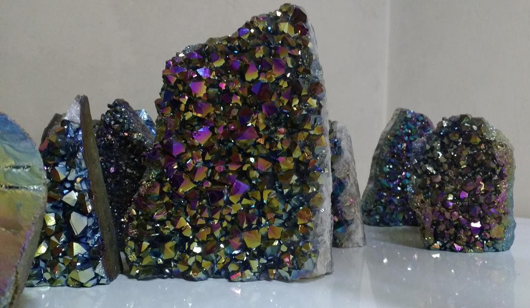 Stones from Uruguay - Rainbow Aura Amethyst Cut Base Crystal Cluster from Uruguay
