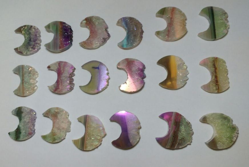 Stones from Uruguay - Titanium  Light Angel Aura Amethyst Half Moon Slice, 40mm