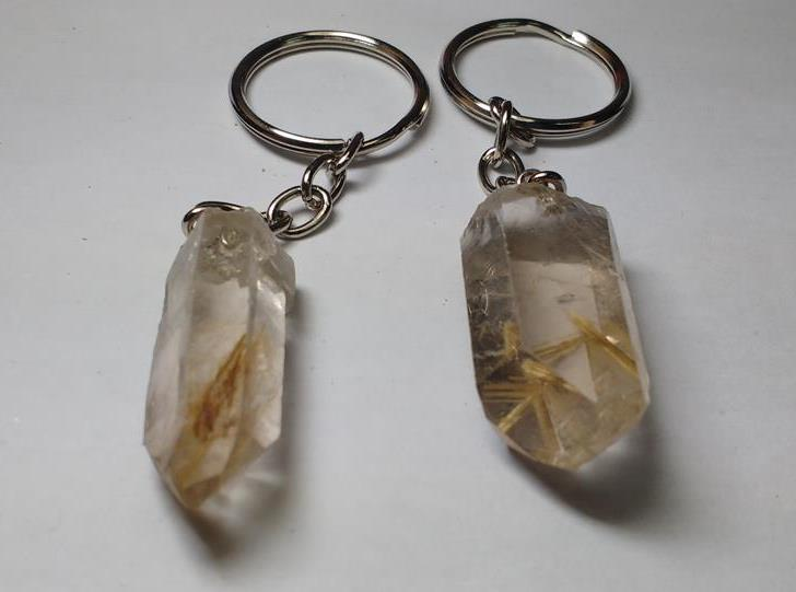 Stones from Uruguay - Rutilated Quartz Point Keychains