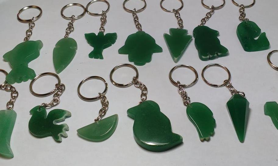 Stones from Uruguay - Green Quartz Shapes Keychains