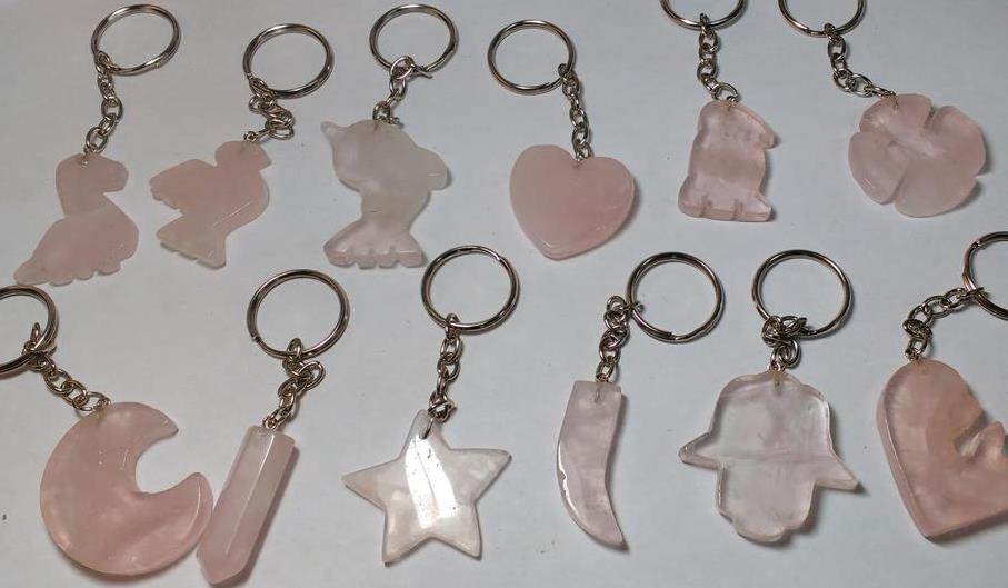 Stones from Uruguay - Rose Quartz Shape Keychains