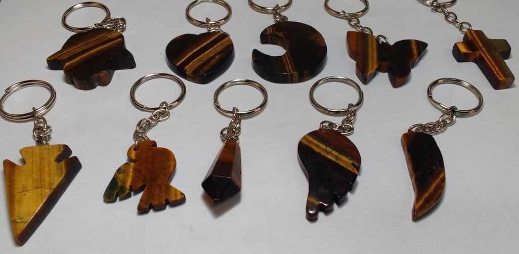 Stones from Uruguay - Tiger Eye Shape Keychains