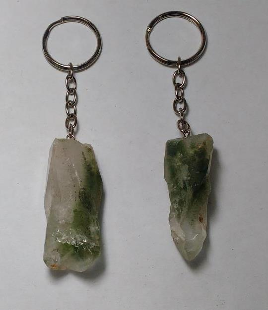 Stones from Uruguay - Green Phantom Quartz Crystal Point Keychains