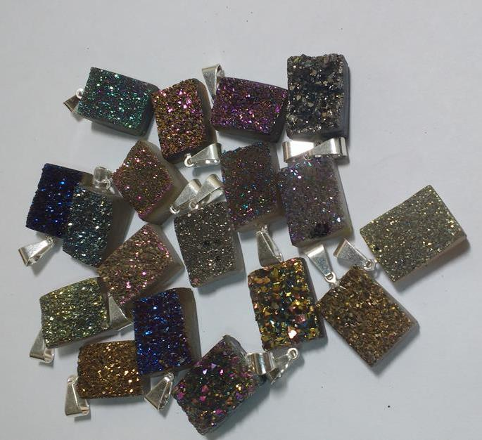 Stones from Uruguay - Titanium Aura Druzy Rectangle Pendant, 12x16mm, Silver Plated Bail, Mixed Colors