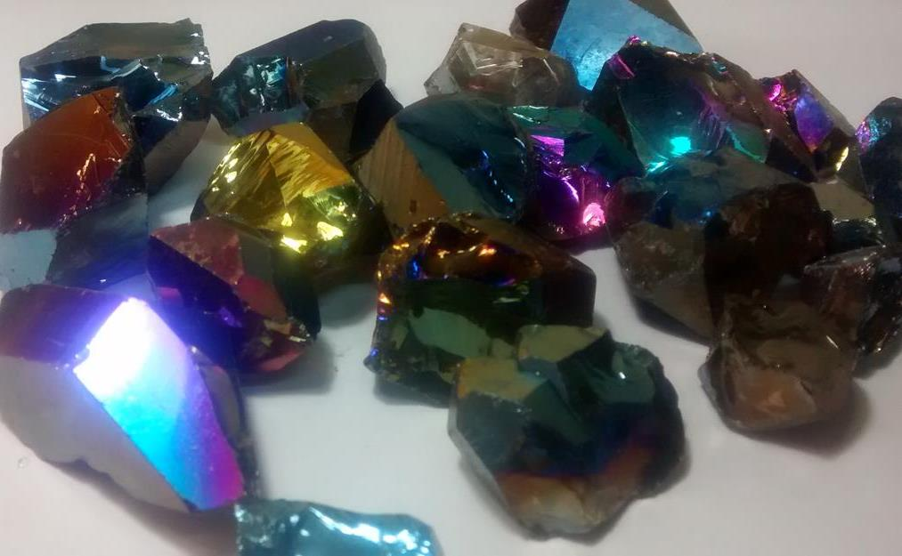 Stones from Uruguay - Rainbow Aura 100% Clean Quartz Crystal