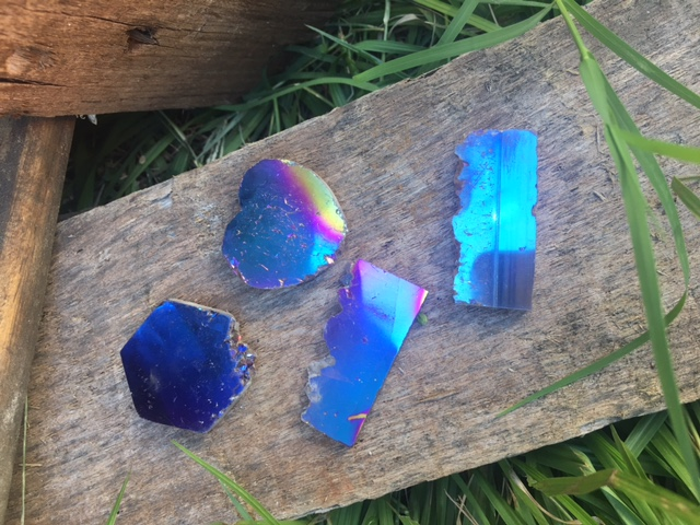 Stones from Uruguay - Cobalt Blue Titanoium Aura  Amethyst Druzy Slices, 40mm