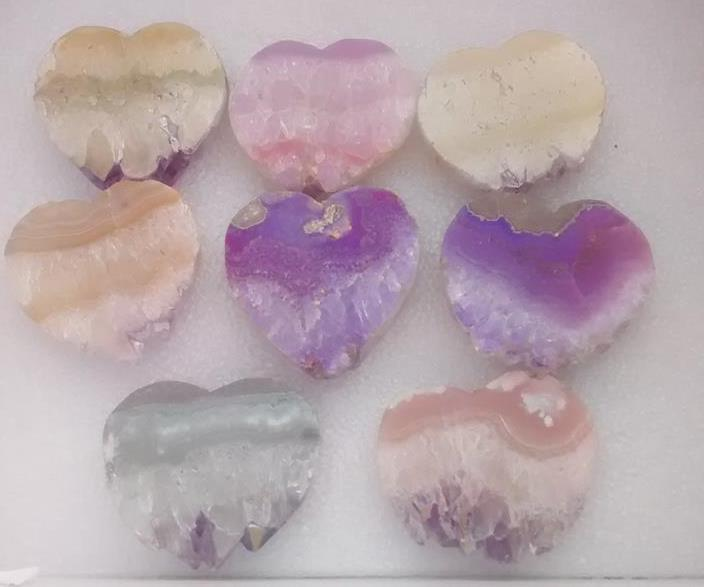 Stones from Uruguay - Light Angel Aura Amethyst Druzy Heart