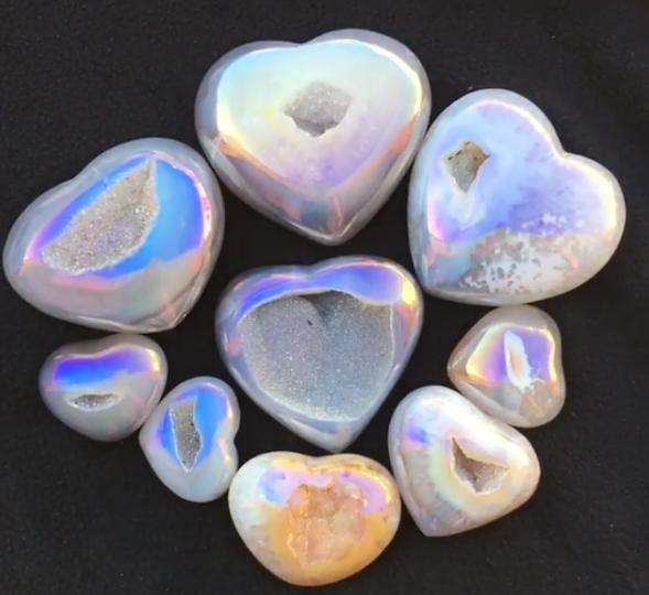Stones from Uruguay - Light Angel Aura Agate Geode  Druzy Heart  for  Meditation