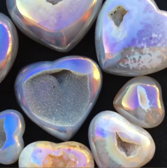 Stones from Uruguay - Light Angel Aura Quartz Agate Geode Druzy Heart for Meditation