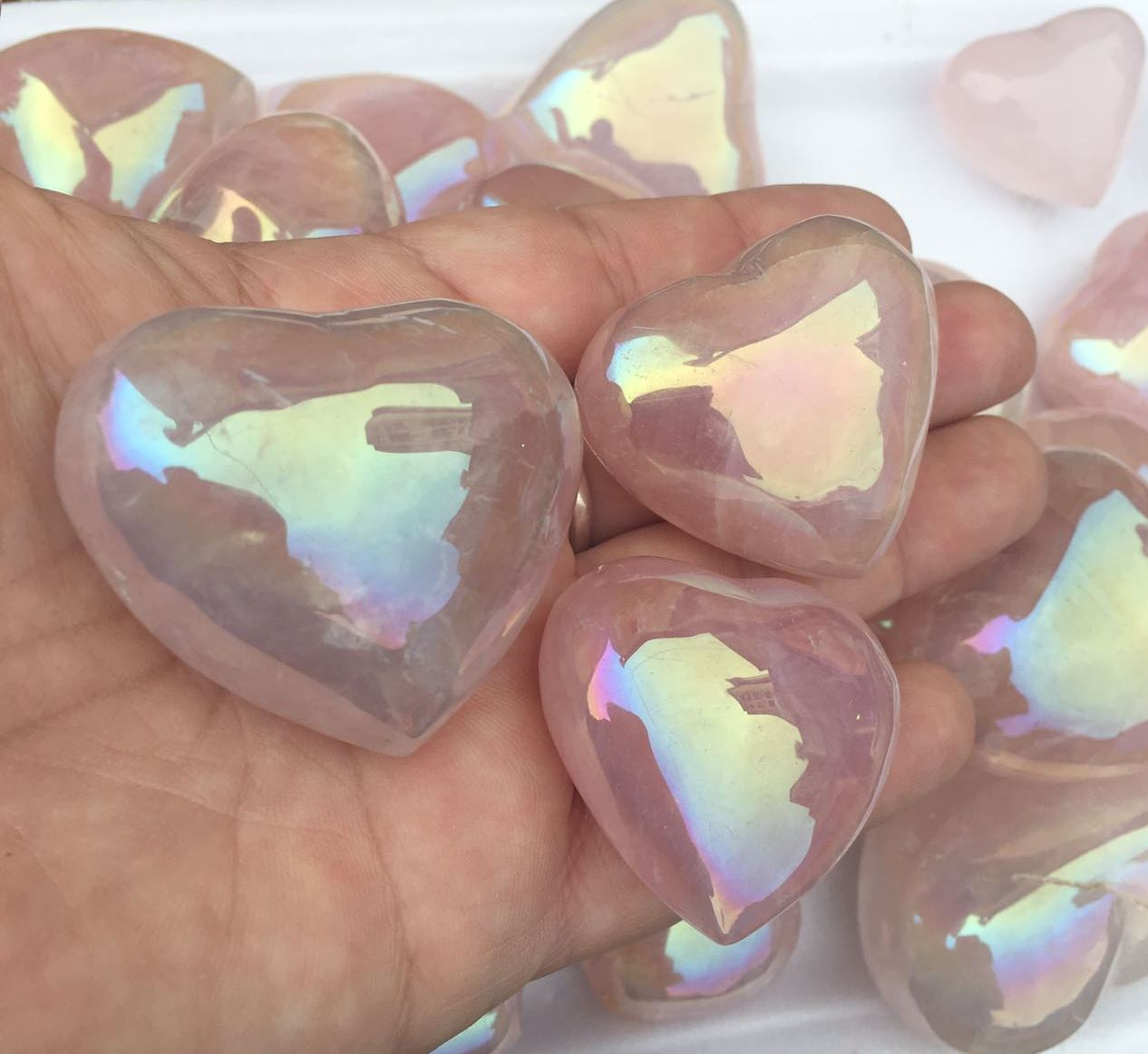 Stones from Uruguay - Angel Aura Rose Quartz Hearts