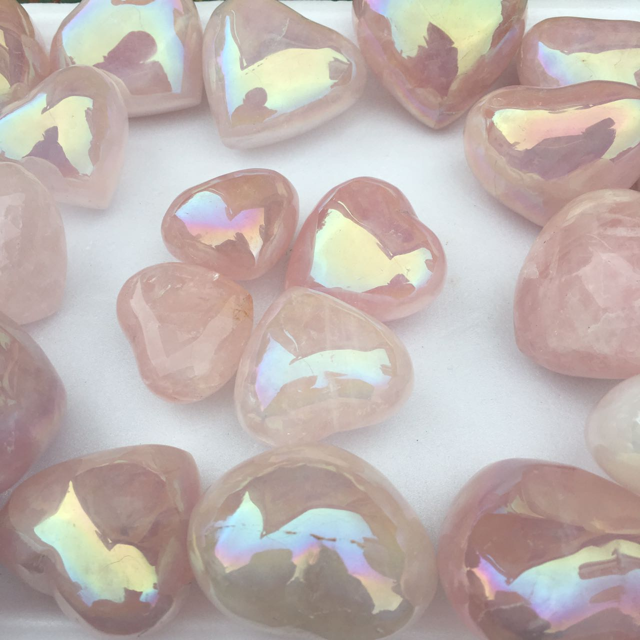 Stones from Uruguay - Polished Angel Aura Rose Quartz Crystal Heart
