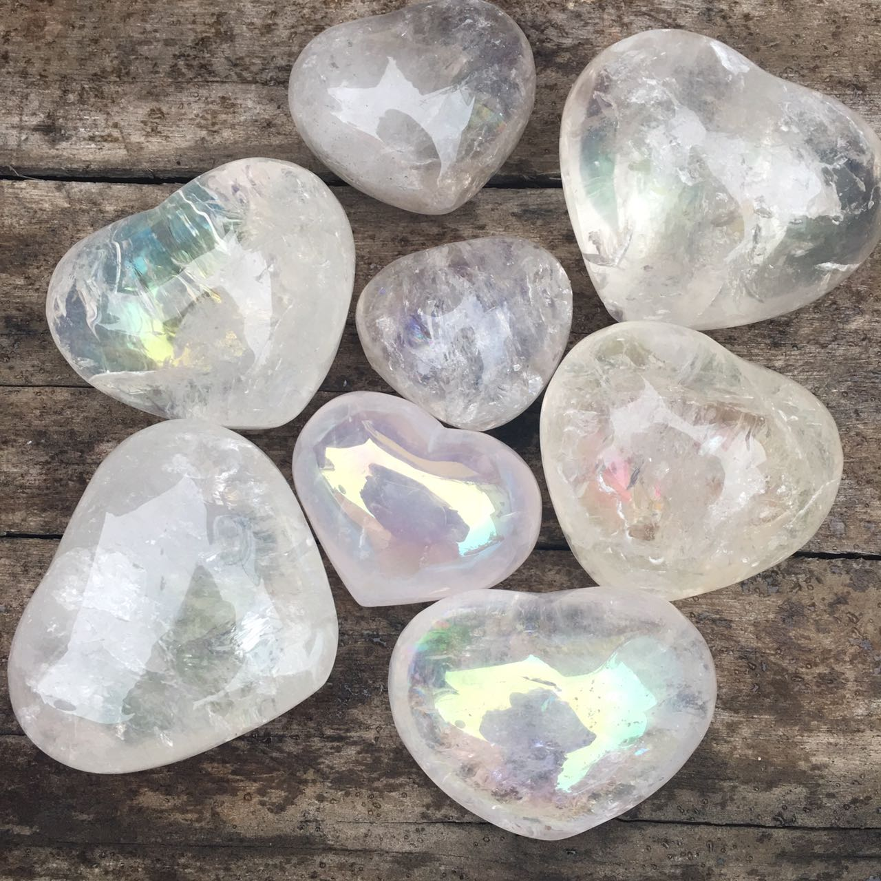 Stones from Uruguay - Angel Aura Quartz Crystal Hearts