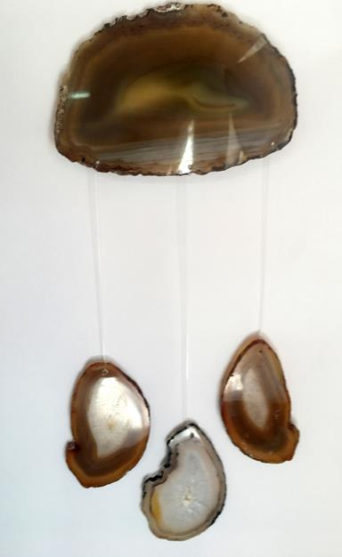 Stones from Uruguay - Natural Agate Slices  Wind Chime for Home or Garden Decor (DC004)