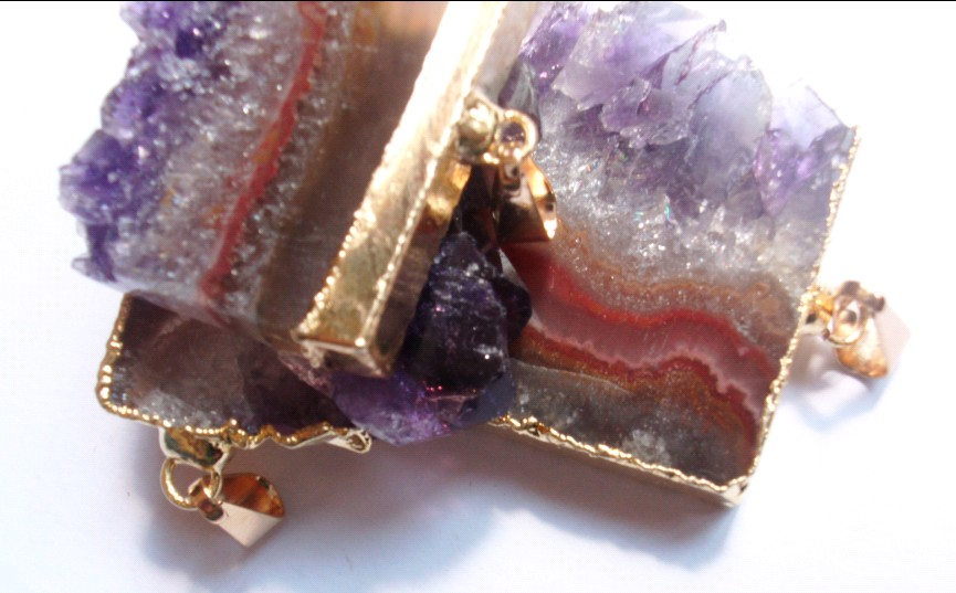 Stones from Uruguay - Amethyst Slice Pendants