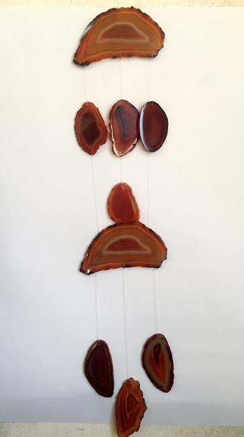 Stones from Uruguay - Red Agate Slice Wind Chime for Decoration and Home(DC010)