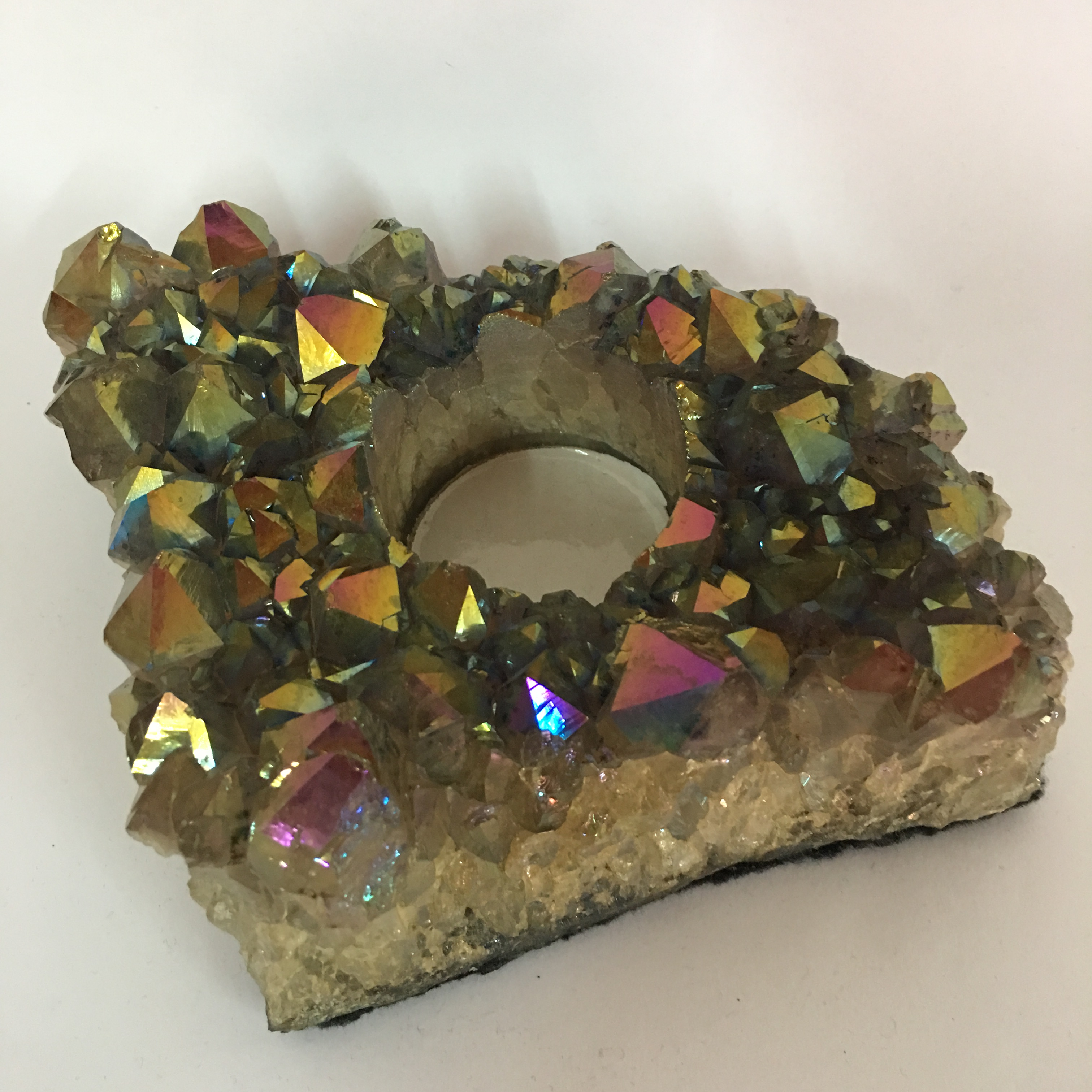Stones from Uruguay - Rainbow Aura Amethyst Druzy Candle Holder