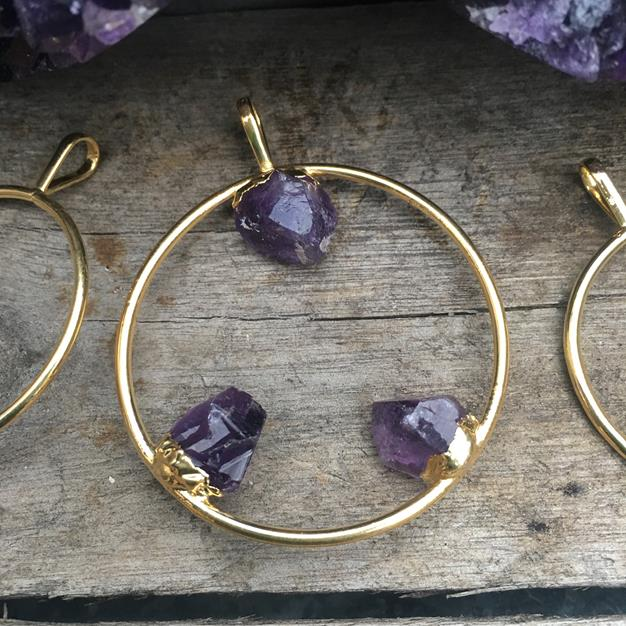 Stones from Uruguay - Triple Amethyst Point Hoop Pendant