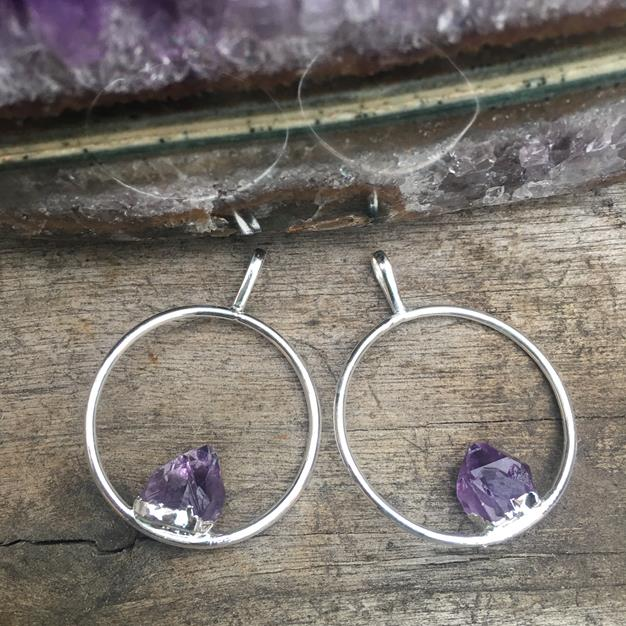Stones from Uruguay - Amethyts Point Hoop  Pendant