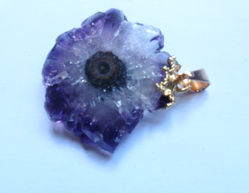 Stones from Uruguay - Amethyst Stalactite Pendant with Gold Plating